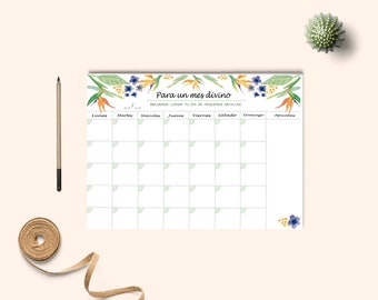 Monthly Planner, Desk Planner, Watercolor monthly planner A4. Calendar desk planner. Calendar planner.  Planner 2017-2018. Tropical pattern.