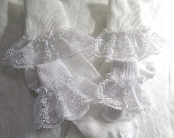 Ruffled Socks Lace Socks Baby socks Girls Socks Little Girls Socks Toddler Socks Frilly Socks Infant Socks Christening Socks Wedding Socks