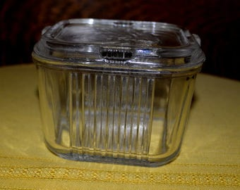Vintage Refrigerated Clear Glass Lidded  Container From The 50's