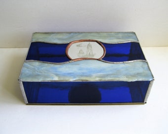 Stained Glass Decorative Box - Etched Light House - OOAK
