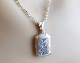 """Vintage Victorian-Style Sterling Silver Engraved Locket Pendant Necklace - Brite-Cut Stamped Engraving - 16"""" Sterling Chain"""