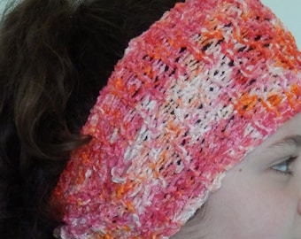 Orange, Pink and Cream Handknit Headband - Indie Eco Friendly Headband - Festival/Holiday Clothing - Dreadlocks Headband