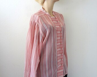 Sheer Cotton Blouse by Jaeger / Pink Chevron & Stripe Vintage Shirt