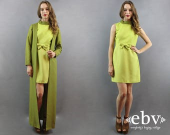 Space Age Dress Set 60s Matching Set Lime Green Dress 1960s Dress 60s Mini Dress 60s Dress 60s Mod Dress Bow Dress 1960s Party Dress S M