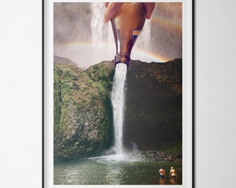 Poster / poster A1 - surrealism - digital - photomontage - rainbow - cascade photo-collage - swim