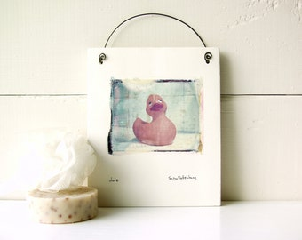 SALE.  Duck.  Rubber Duck.  Polaroid Image Transfer Printed on Fired Ceramic Clay.  Emulsion Lift.