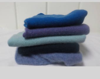 Upcycled Felted Cashmere Sweater Pieces - Blue, Purple and Black