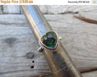 ON SALE Green amethyst ring handmade in sterling silver 925