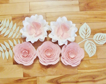 5 Mini Paper Flowers - Baby Nursery Decor  | Roses | Flowers for your Wall | Paper Roses | Rose Wall Art |
