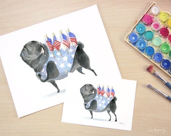 Patriot Pug art print - Patriotic decor with black pug, American flag art, Americana patriotic Art, black Pug art print by Inkpug