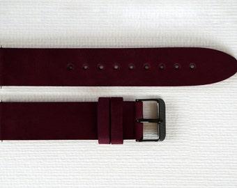 22mm Burgundy watch strap, Leather watch strap, 22mm watch strap, Watch band, 22mm Watch band, Leather watch band, Watch straps, Watch bands
