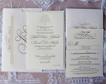 Large Letterpress Wedding Invitation Sample, Wedding Invitation, Gold Invitation, Tree Invitation Suite, Wedding Invitations, Countryside