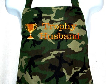 Man's Apron, Trophy Husband, Camouflage Camo Apron, Personalized With Name, No Shipping Charge, Ready To Ship TODAY, AGFT 598