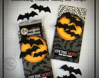 KIT Halloween Candy bar Wraps, Something Wicked This Way Comes, Hershey, Party favor, Halloween Teacher Gift, Game Prize, Classroom Treats