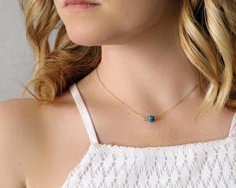 Delicate turquoise necklace - 14kt gold filled - tuquoise layering necklace