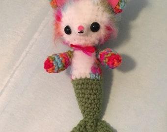 Fuzzy Kitty Mermaid - Purrmaid - Amigurumi - Crazy Cat Lady - Ready to Ship