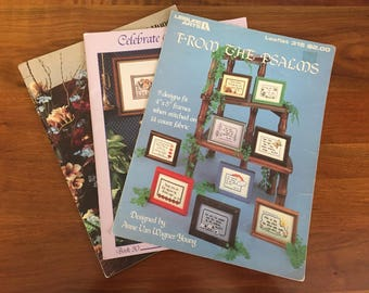 Vintage Cross Stitch Religious Patterns / 3 booklets / 1984 From the Psalms / 1987 Celebrate His Love / 1985 Thy Word Have I Hung on My Wall