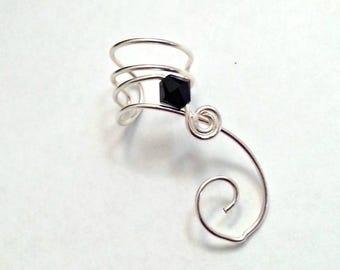 Ear Cuff Black Jet Swarovski Crystal No Piercing, Ear Climber, Ear Vine, Elven Ear Cuff