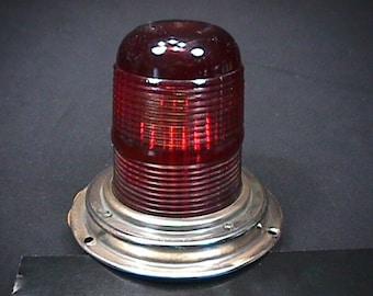 Vintage Yankee Red Glass Globe 12 Volt Light