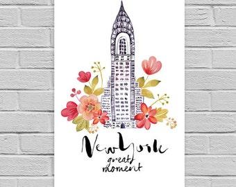 New York Print, New York art print, printable wall art. Travel city poster, wall decor, New York digital print.