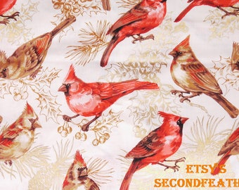 On Sale - Cardinal on the Gold Branch - 100% Cotton Fabric - RTC Fabrics - 1 Yard - more for one cut