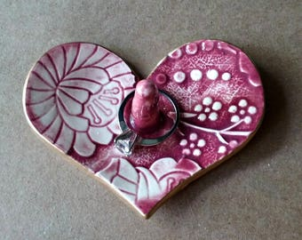 Ceramic Ring Holder Heart Bowl Wine Red Damask edged in gold