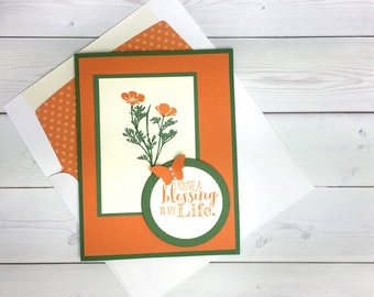 Blessings Card - California Poppy Card - Flowers & Butterfly Card - Handmade Card - Hand Stamped Card