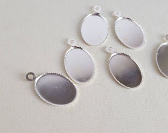 Silver plated oval cabochon settings