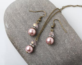 Bridesmaid jewelry set, Dusty rose and Pink crystal jewelry set, vintage rustic wedding Jewelry, pink bridesmaid gift, Bridal party gift