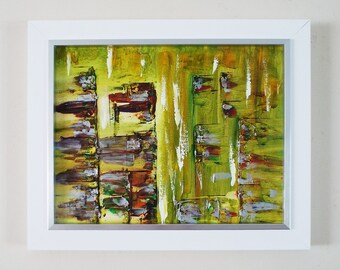 Abstract Landscape Original Painting Tropical Decor Framed Original Art Framed Landscape Painting