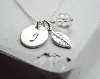 Initial Necklace | Personalization Necklace | All Sterling Silver | Tiny Leaf Charm | Birthstone