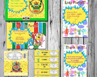 Yo Gabba Gabba   Birthday Custom  pack Brobee, Muno, Foofa, Plex  Invitations and more!
