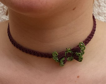 set of micro macrame Butterfly with a short/Choker and earrings purple and green - perfect gift mother's day