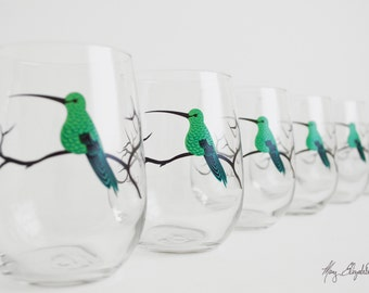 Green Hummingbird Stemless Glasses - Set of 6 Hummingbird Glasses - Mother's Day, Hummingbirds, Green Hummingbirds, Hummingbird Artwork