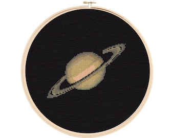 Saturn Cross Stitch Pattern - Planet Cross Stitch - Solar System Cross Stitch Pattern - Cross Stitch Saturn - Space Cross Stitch Pattern