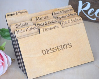 Recipe Cards - Wooden Recipe Cards - Recipe Card Dividers - Wood Recipe Cards - Recipe Box Dividers - Recipe Dividers - Rustic Kitchen