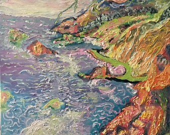 Original Big Sur Painting, beach, Big Sur California, Big Sur Beach, landscape, calm art, summer, Big Sur art, impressionism,