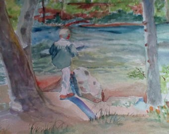 """Gazing at the Ripples, is an original watercolor, done on archival paper, measures 11x14"""" and is unmatted and unframed."""