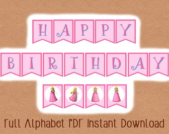 Printable INSTANT DOWNLOAD Video Game Princess Banner, Video Game Party Banner, Video Game Party, Gamer Birthday Party, Video Game Birthday