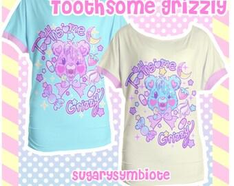 Toothsome Grizzly Oversized T-shirt Gurokawa, pastel fashion, jfashion, kawaii shirt, yami kawaii