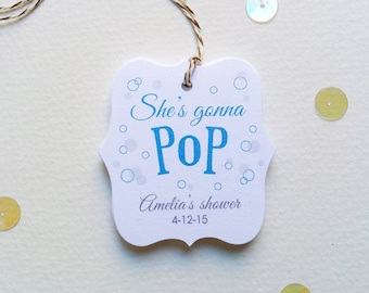 Custom baby shower tags - She's gonna pop tags - Popcorn theme shower thank you tags - Personalized Baby Shower tags - (TB10)