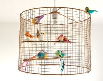 Lampshade etsy large copper birdcage lampshade aloadofball Image collections