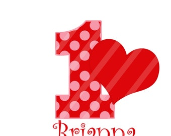 Valentine Birthday Number Personalized Digital Image for iron-ons, heat transfers, T-Shirts, Onesies, Bibs, Towels, Aprons, DIY YOU PRINT