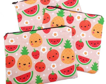Happy Fruit Zipper Pouch - Coin Purse