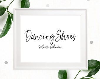 Dancing Shoes Sign-Printable Calligraphy Dancing Shoes-DIY Handwritten Wedding Flip Flops Sign-Stylish Hand Lettered Dancing Shoes Favors