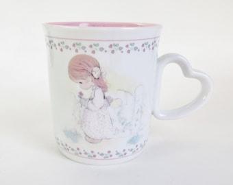Vintage Precious Moments Mug, Mug for Grandma, Grandmother Mug, Vintage Enesco 1991, Heart Shaped Handle, Gift for Grandma, Grandmother Gift