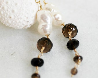Smoky Quartz Freshwater Pearls Gold Filled Wire Wrap Earrings Beach Ocean Summer