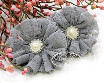 "2 pcs Medium GRAY Grey 2.5"" inch Ballerina LACE Shabby Ruffled Flowers w/ Pearl Rhinestone, DIY applique hair Supplies accessories"