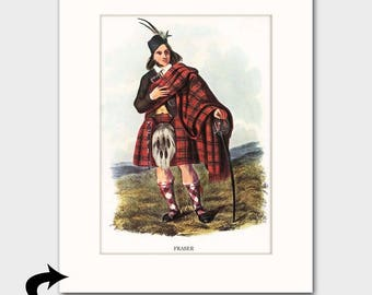 Clan Fraser Family Art Print w/Mat (Victorian Art, Scottish Highland Wedding Gift, Glengarry Hat) --- Matted Scotland Art