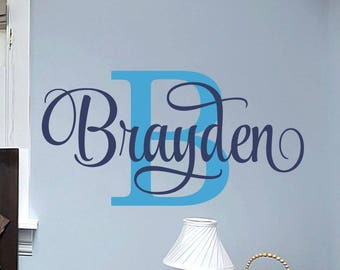 Name Wall Decal Boy - Name Wall Decal - Name Decals for Nursery - for Walls - Personalized Wall Decal - Nursery Wall Decal - Monogram